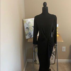 NWT Size Large Black Mock Wrap Dress